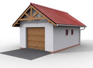 рисунок гаража с двускатной крышей