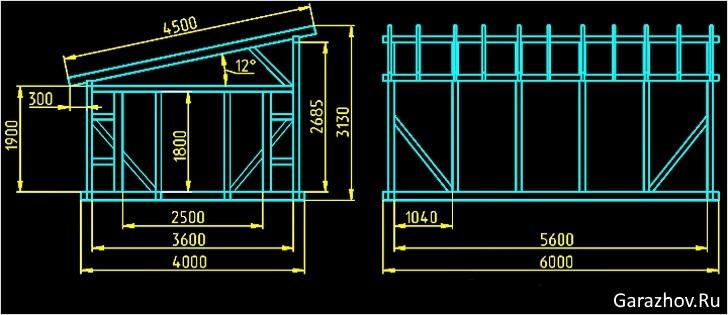 Односкатная крыша как построить чертежи