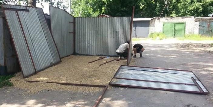 установка конструкции гаража