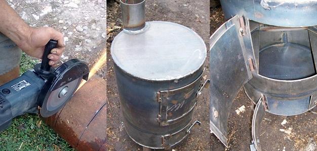 печка на дровах в гараже